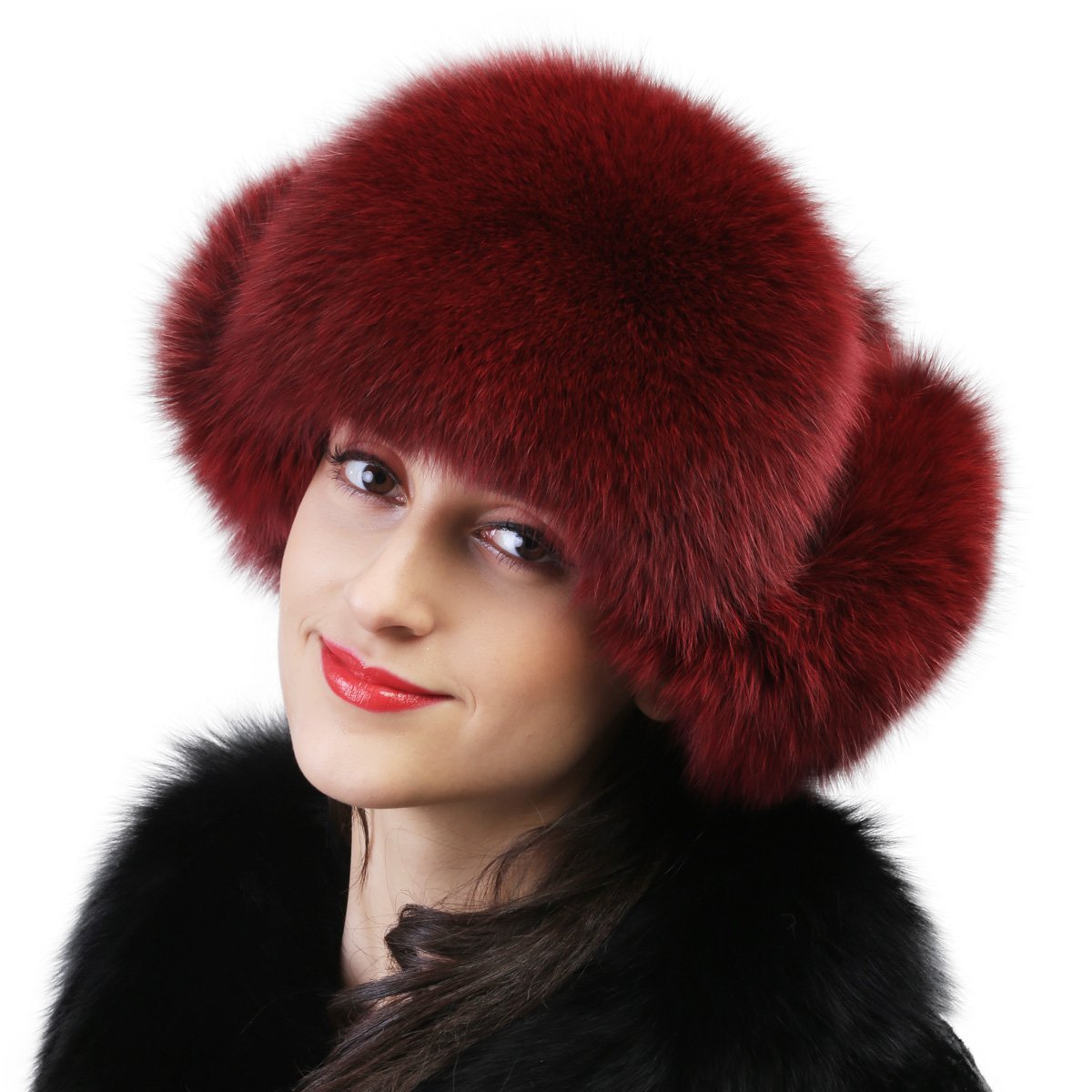 Mandy's Women's Autumn Winter Warm Below Zero Show Ball Real Fur Caps Lady's Fox Fur Hats (One size fit most (20''-24''), red)