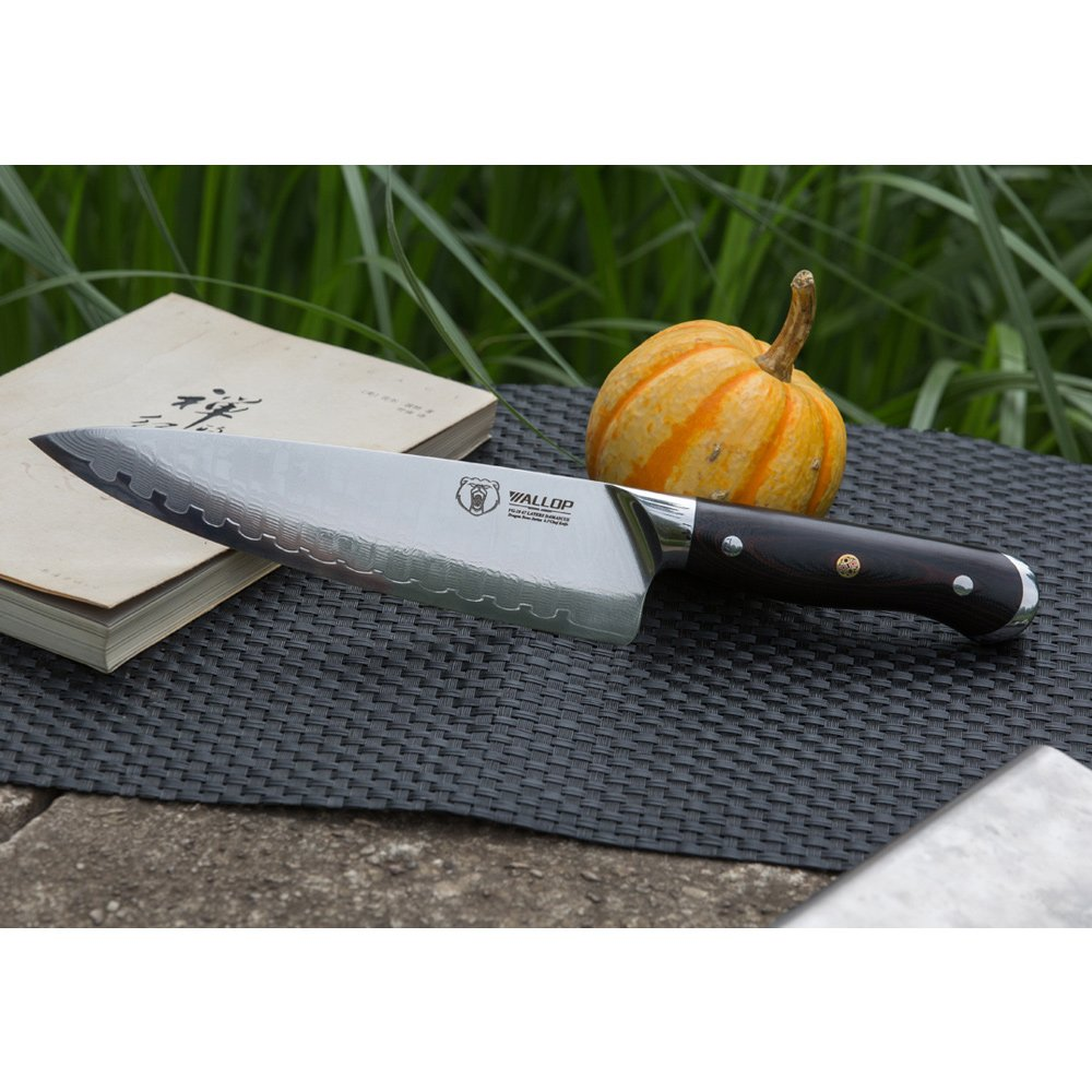 8.5' Japanese Damascus Chef Knife with 67 Layers Damascus Steel Kitchen Knife,Veggie Vegetable Chopper Cutter Knife, Meat Cleaver, Full Tang Blade G10 Handle for Professional Chef WALLOP Dragon Bone by Wallop (Image #5)