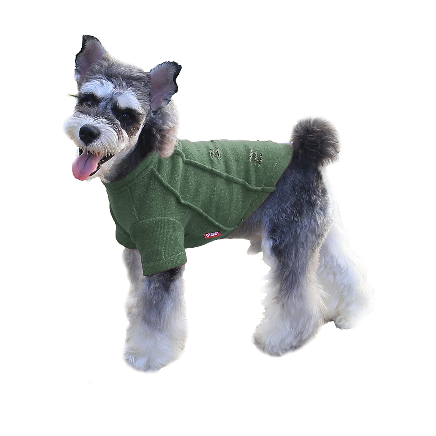 Green T-shirt 2XL-body length 16\ Green T-shirt 2XL-body length 16\ Gyapet Dog Sweater Dog Hoodie Christmas for Small Pets Red Shirt Winter Warm Outfits Cloth Pet Puppy Green 2XL