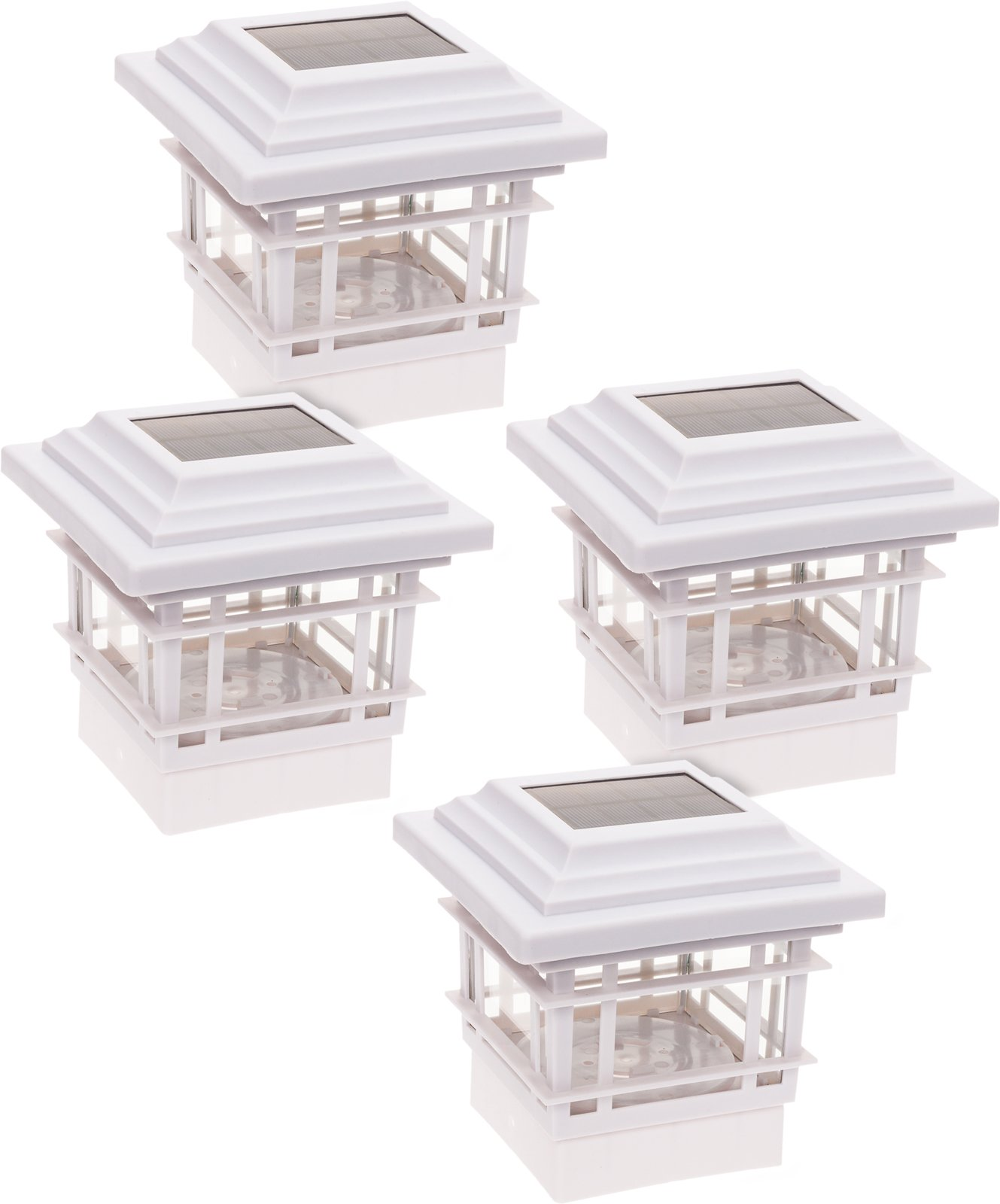 GreenLighting 4 Pack Classica High Lumen Plastic Solar Post Cap Lights for 4x4 Wood Posts (White)