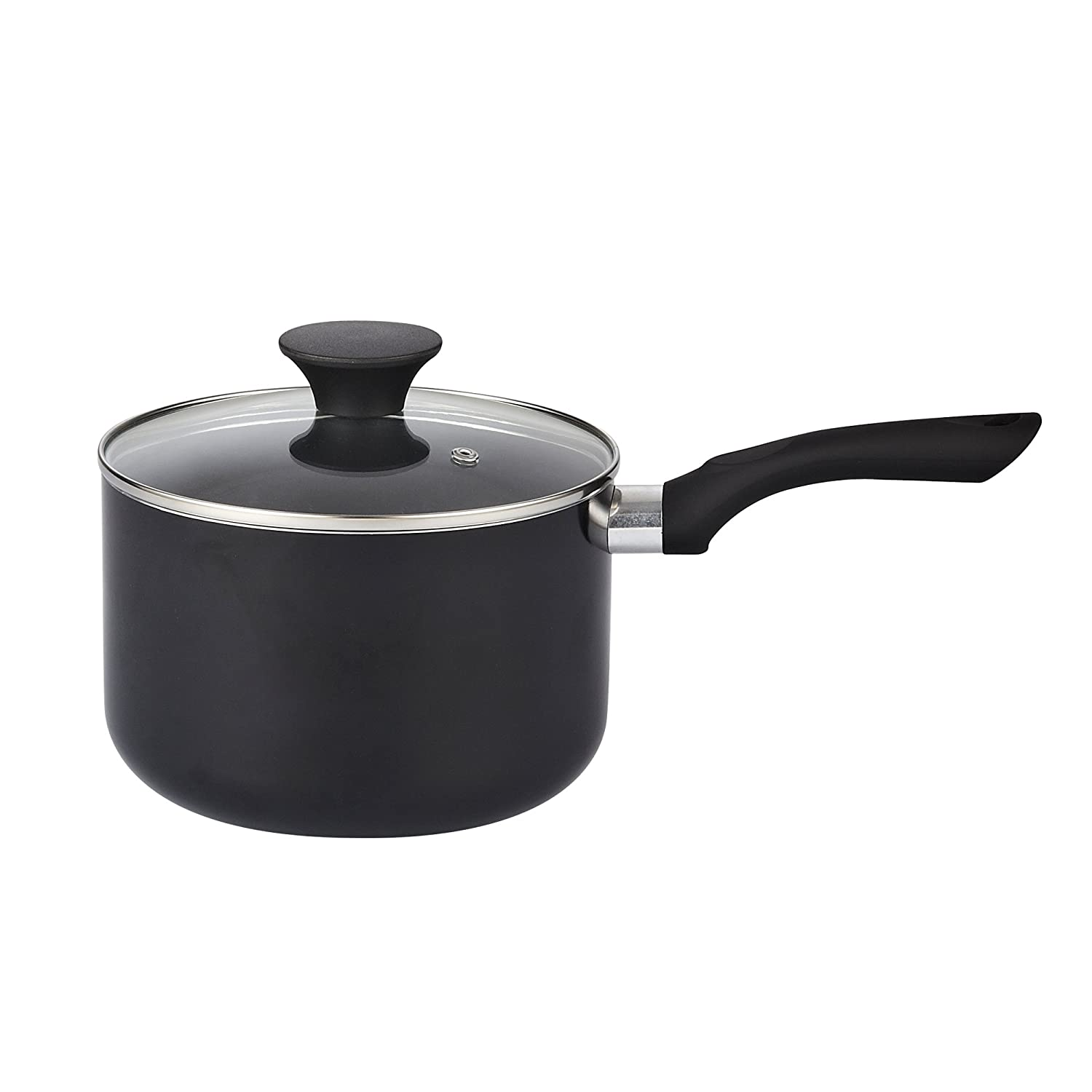 Cook N Home Nonstick Sauce Pan with Lid Black 02419 3 quart