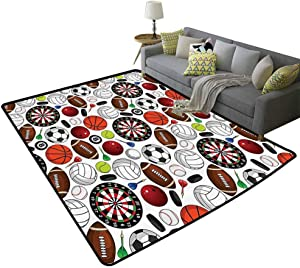 Sports Decor Collection Kitchen Area Rugs Pattern with Billiards Balls Hockey Pucks Darts Arrows and Target Boards Image Easy to Clean Carpet Orange White Burgundy, 6'x 7'(180x210cm)