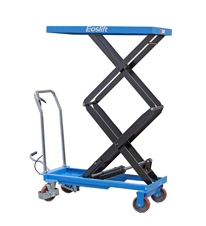 DAZONE Manual Hydraulic Scissors Lift Table Carts - 770 lb Max Load Capacity, High-Lift Double-Scissor, Hydraulic Foot Pump, Blue TAD35