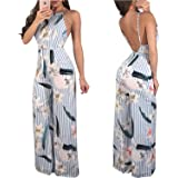 FJ-Direct Open Back Striped Rompers for Women Overalls Long Summer Backless Sexy Boho Jumpsuit