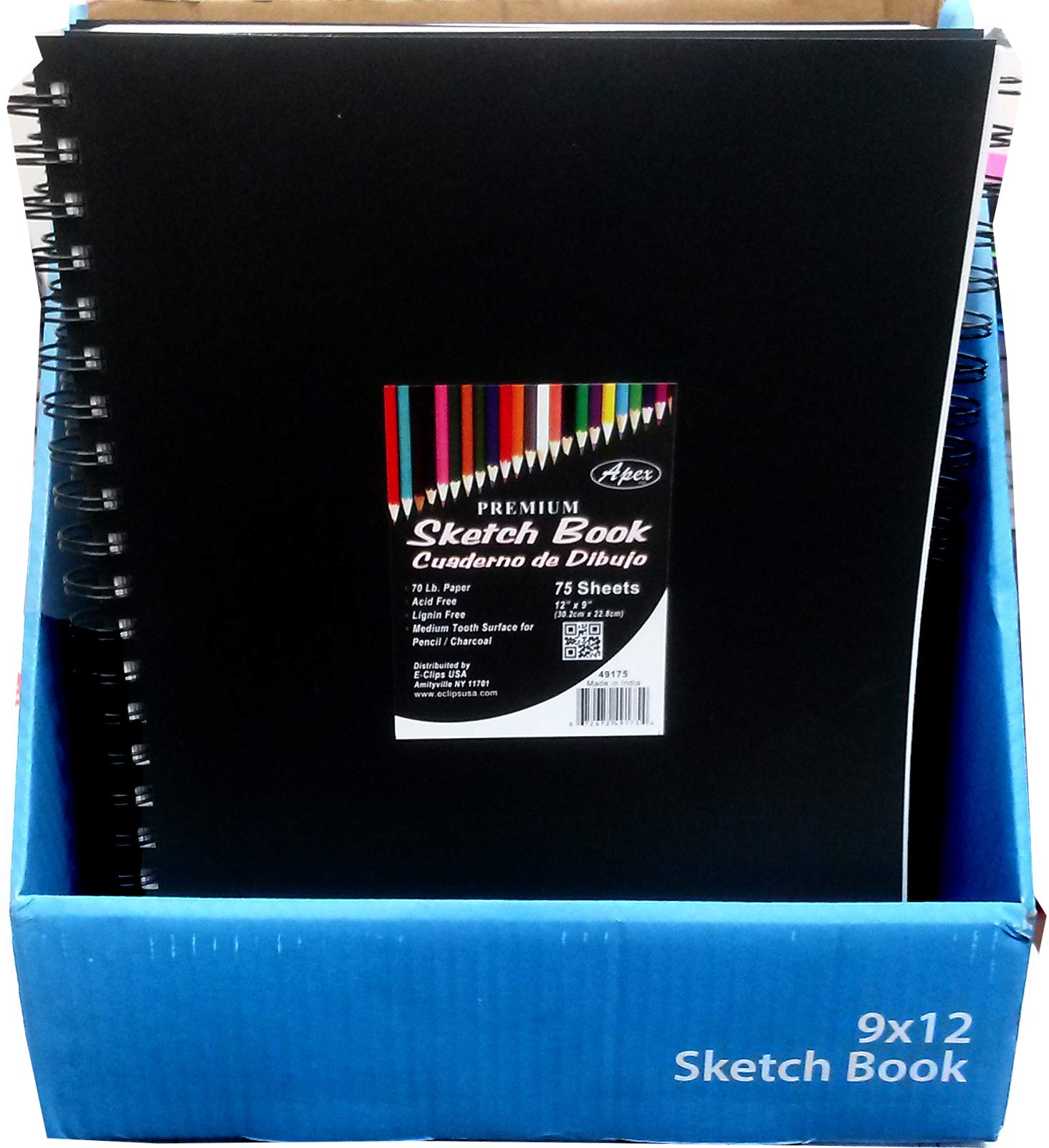 Sketch Book, Poly Cover, 9''x 12'', 75 Sheets, Case Pack of 24, Ideal for Bulk Buyers by AUKSales