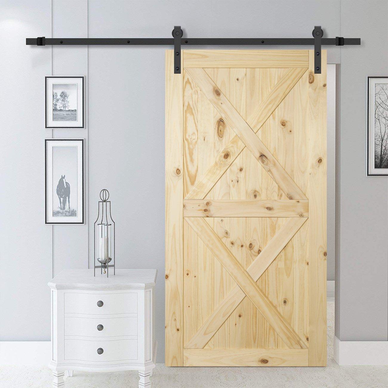 BELLEZE 42'' x 84'' inches Modern Sliding Barn Door Natural Wood Pine Unfinished Single Door, Double X