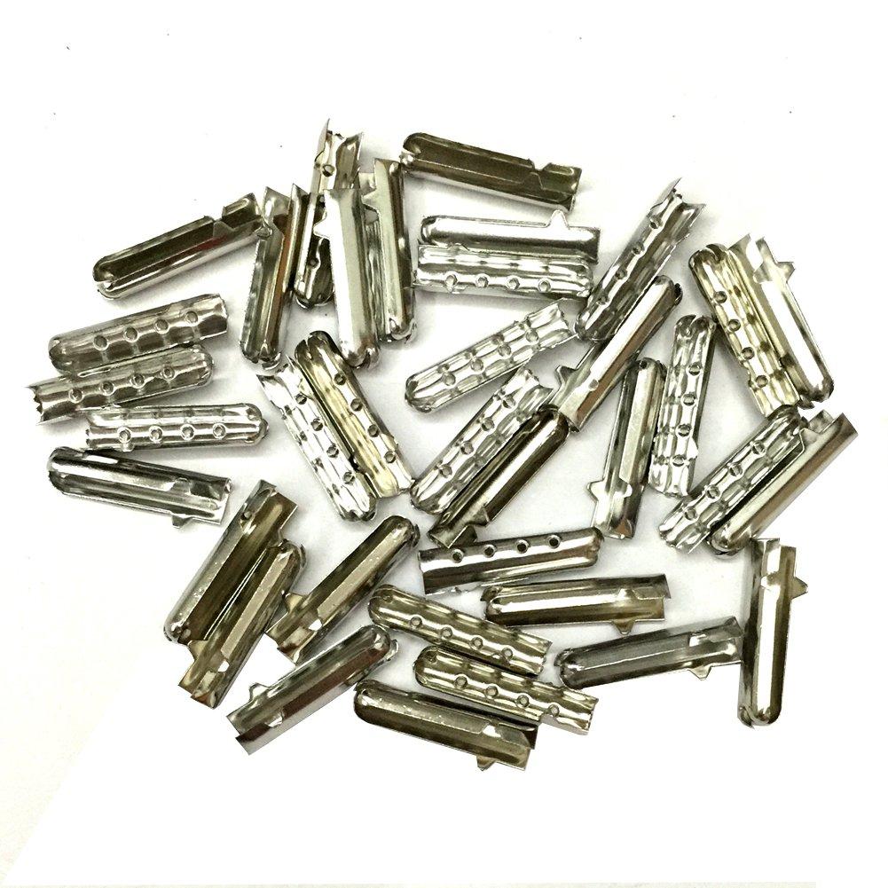 12/24/36/48 PCS Metal Aglets DIY Shoelaces Repair Shoe Lace Tips Replacement End (12PCS, Silver)