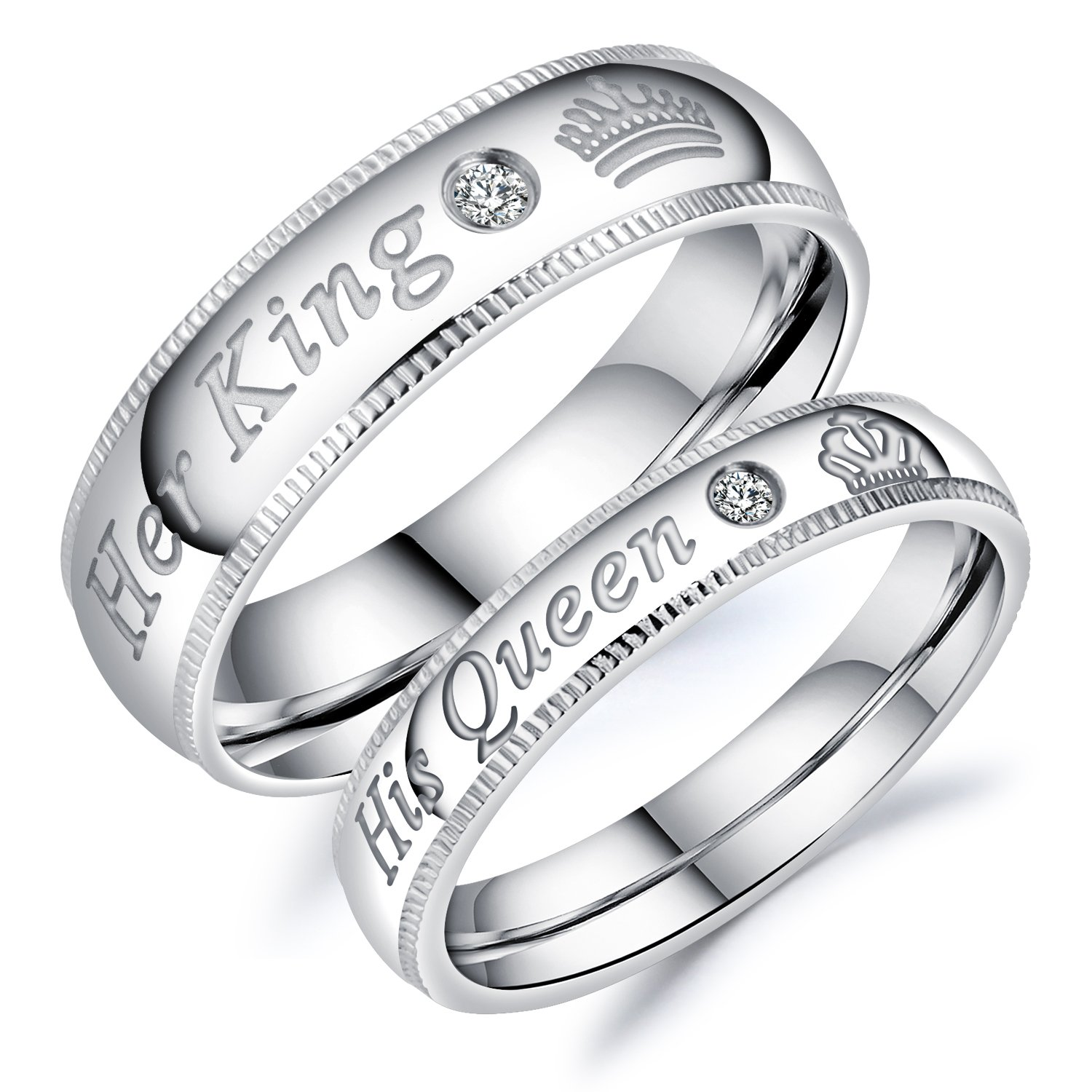 Fate Love Jewelry Stainless Steel Her Queen & His King Wedding Couple Ring Band Matching Set, Love Gift