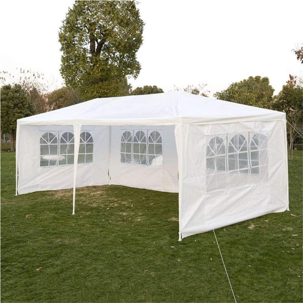 AUFUN Gazebo Waterproof 3 x 4 m Blue Folding Gazebo with 4 Side Walls Garden Gazebo Folding Tent Polyethylene Beer Tent Door with Zip for Garden Party Wedding Picnic Market