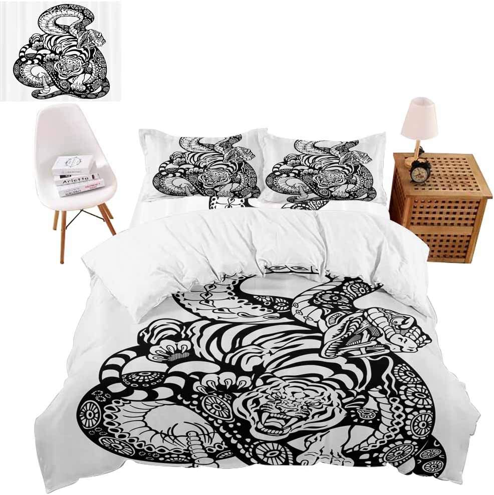 vroselv-home 4 Piece Bedding Set, Snake and Tiger Pattern Christmas Decor Duvet Cover Set Quilt Bedspread for Childrens/Kids/Teens/Adults - California King Size/NO Comforter
