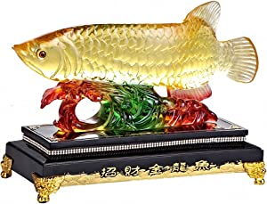 "Wenmily Large Size Feng Shui Wealth Arowana (Golden Dragon Fish) Lucky Fish Statue Figurine, Office Living Room Decoration,Best Gift for Business Opening,Feng Shui Decor,9""(L) x 4""(W) x 8""(H)"