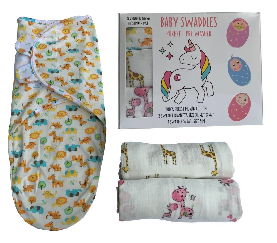 Pure Soft Natural Cotton Muslin Swaddle Baby Blanket Pack of 3 Square Swaddles for Newborn Babies XL Size
