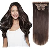 HEESAGA 12 Inch Clip in Extensions, Real Human Hair Extensions for Women Beauty, 80 Grams/2.8 Ounce 7 Pieces with 16 Clips per Set (#2 Dark Brown)