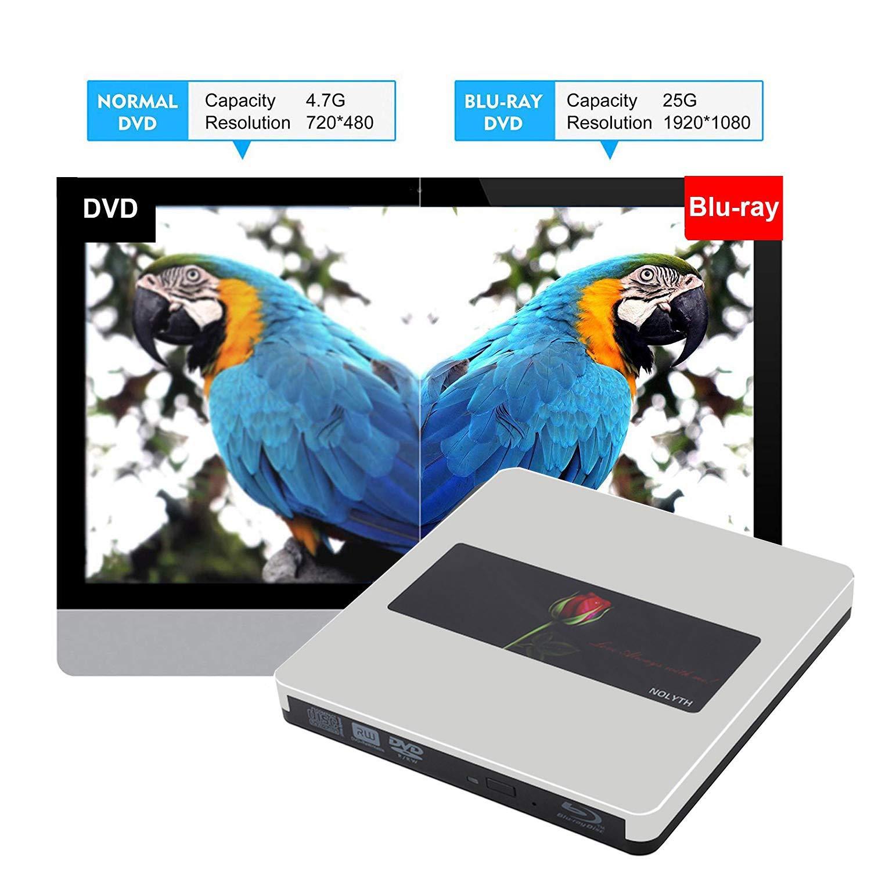 External Bluray Drive 3D NOLYTH USB C External Blu Ray Drive Player Burner for MacBook Pro/Air/Mac/Laptop/Windows10 by NOLYTH (Image #2)