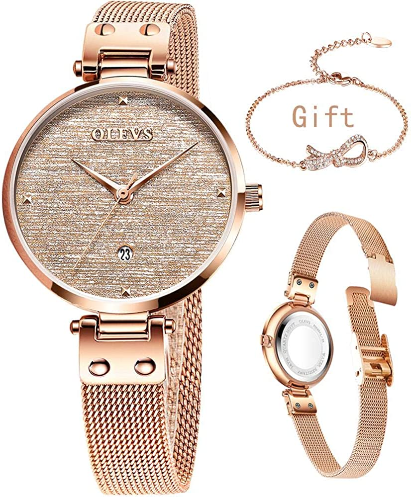 Women s Rose Gold Watch Quartz Analog Stainless Steel Mesh Band Wrsit Watch,Casual Fashion Ladies Rose Gold Watch Small Face,Green Gray White Gold Dial