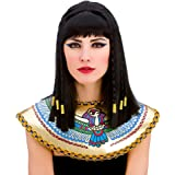 Ladies Cleopatra Wig with Fringe and Gold Braiding Egyptian Fancy Dress