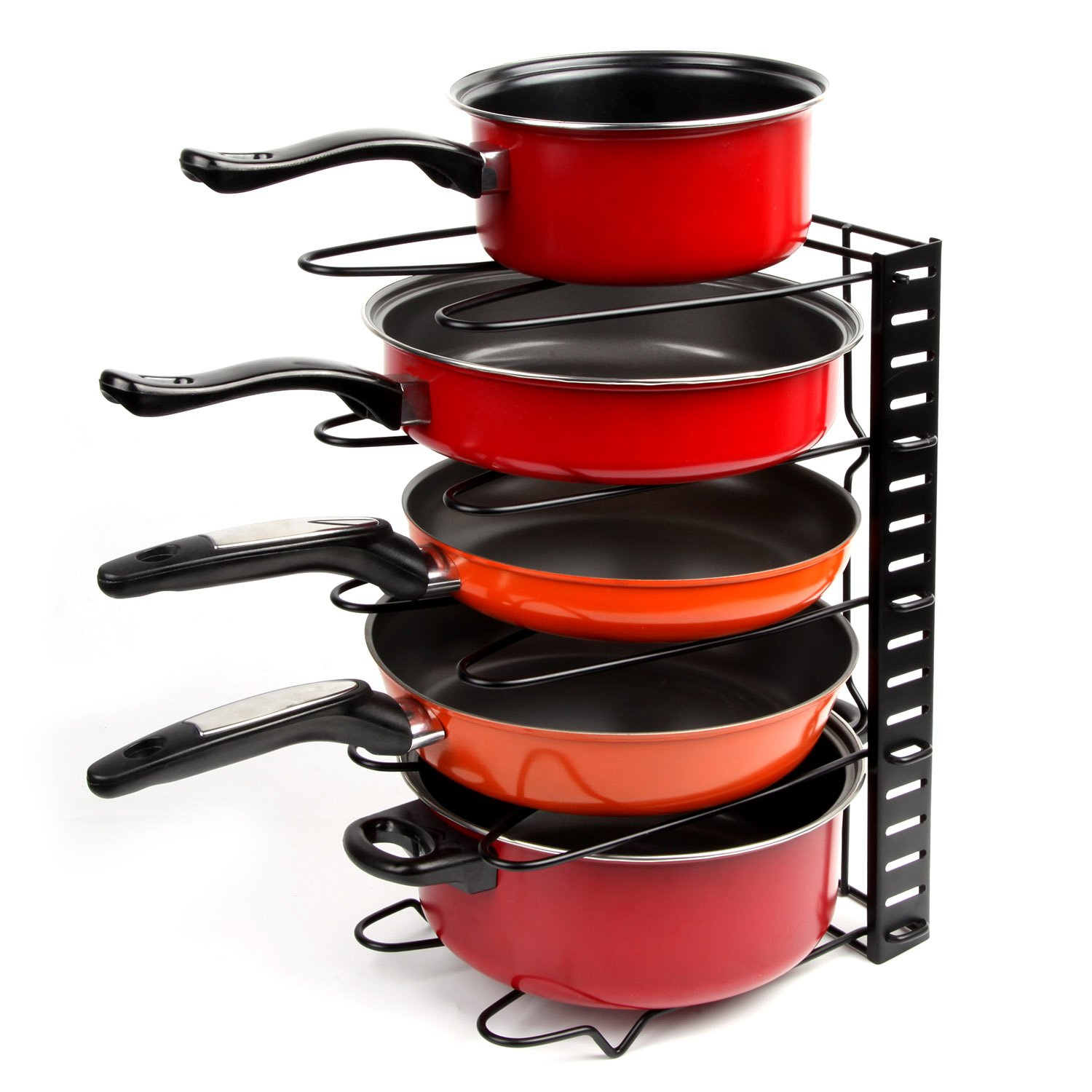 Vdomus Adjustable Pan Organizer Rack Pot Lid Cookware Holder for Kitchen Cabinet Pantry - Black Metal VMPR0010BK
