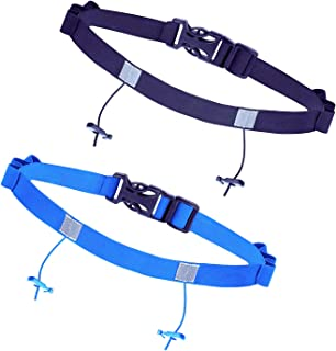 JZZJ 2 Pieces Race Number Belt with 6 Gel Loops for Running Cycling Triathlon Marathon, 2 Colors by