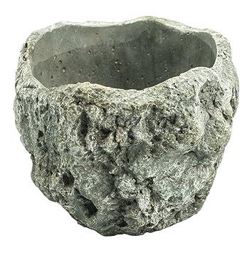 Hormigón olla rejilla gris Ø23 cm X 21 cm Rustikal – Macetero piedra olla plantar grueso