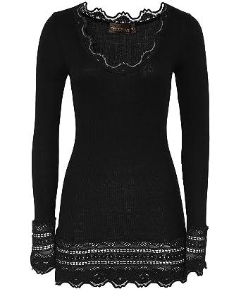 b57681966088db Rosemunde Women's Silk Long Sleeve Top Black at Amazon Women's Clothing  store:
