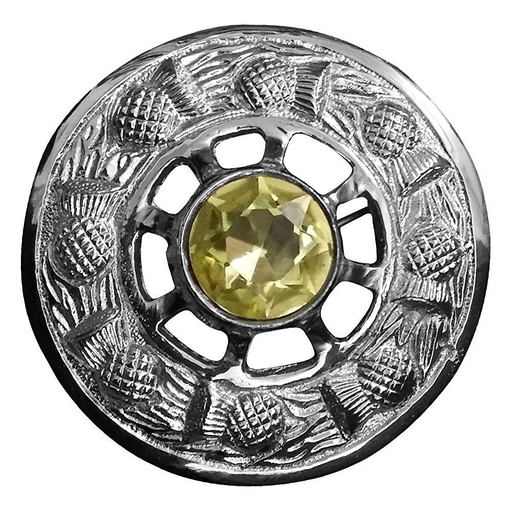 AAR Scottish Fly Plaid Brooch Yellow Stone Chrome Finish 3'' (7cm) diameter (Yellow Stone)