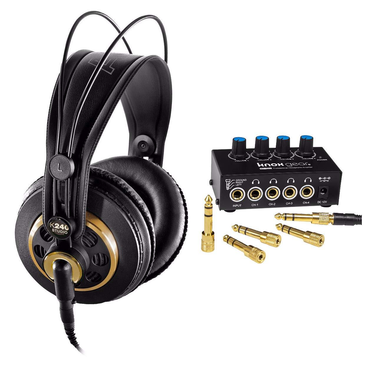 AKG K240 Studio Semi-Open Over-Ear Professional Studio Headphones with Knox Gear Headphone Amplifier
