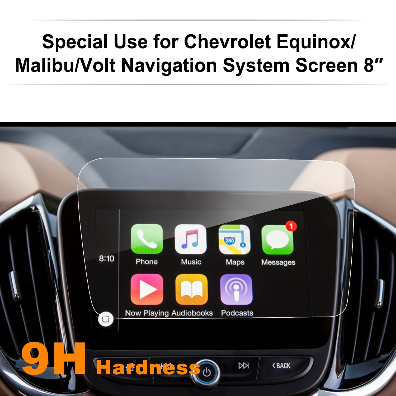 Chevrolet Volt/Malibu/Equinox 8-inch Car Navigation Screen Protector, LFOTPP [9H Hardness] Clear Tempered Glass in-Dash Screen Protector Center Touch Screen Protector Anti Scratch High Clarity LiFan CA Chevrolet 8tixing VoltMalibu