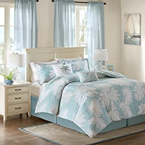 Harbor House Palm Grove King Size Bed Comforter Set - Aqua, Tropical Palm Tree Leaf Floral – 5 Pieces Bedding Sets – Cotton Sateen Bedroom Comforters