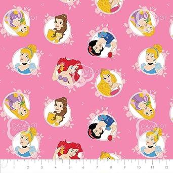 Cenicienta Con Licencia De Princesas De Disney-Ariel-Belle-Rapunzel 100/% Tela De Algodón
