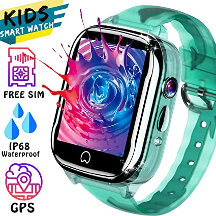 Smart Watch for Kid GPS Tracker - [Free SIM Card] Waterproof Kids Watch Phone Boy Girl 3-12 Years Old with Two-Way Call SOS Games Camera Compatible ...