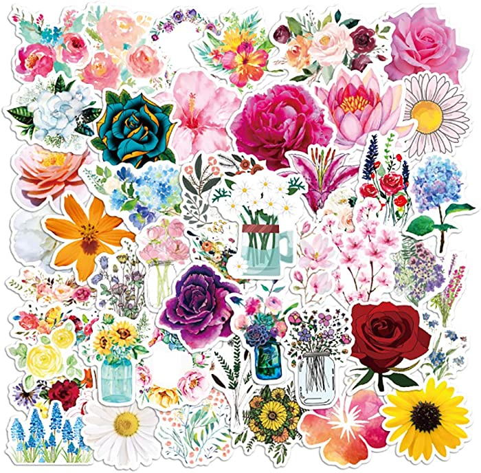 Flower Stickers|50-Pack | Cute,Waterproof,Aesthetic,Trendy Stickers for Teens,Girls,Perfect for Laptop,Hydro Flask,Phone,Skateboard,Travel| Extra Durable Vinyl (Flower Stickers)