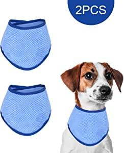 MEWTOGO 2 Pieces Pet Dog Cooling Collar- Ice Chill Lightweight Instant Cooling Pet Bandana for Summer (Blue)