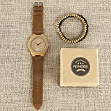 WONBEE Bamboo Wood Watches Infinity Design with Cowhide Leather Strap Unisex,Bonus 2 Wooden Bead Bracelets