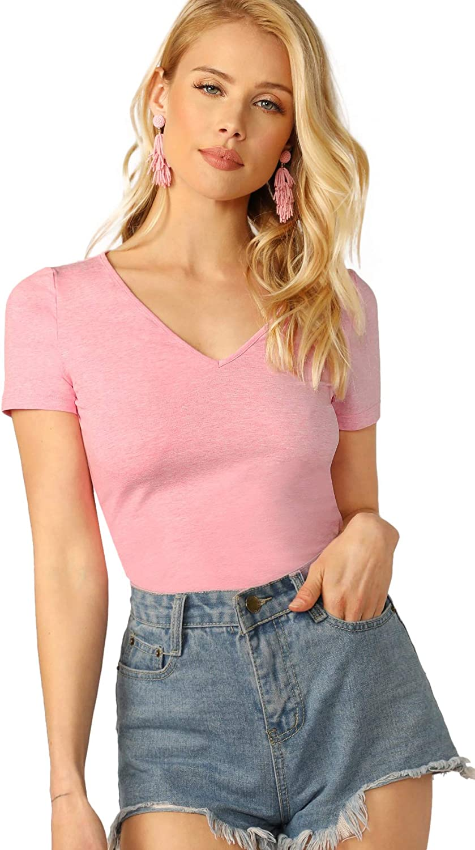 Floerns Womens V Neck Short Sleeve Casual T-Shirt