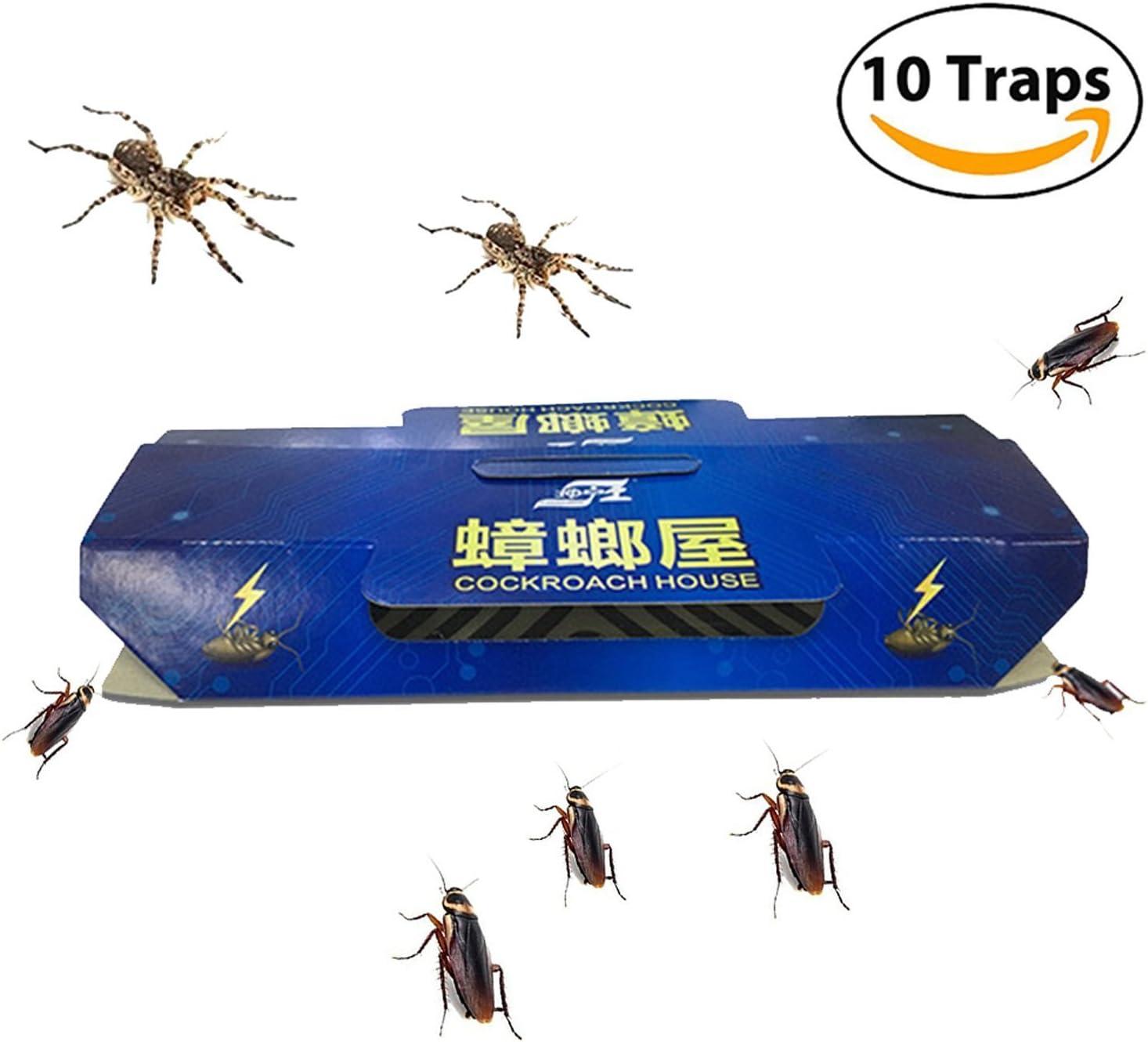Trampa para cucarachas con cebo incluido, casa de cucarachas no tóxica y respetuosa con el medio ambiente, paquete de 10