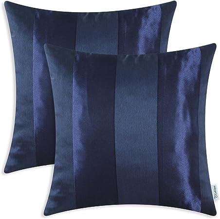 CaliTime Pack de 2 Fundas de Cojines Fundas para Fundas de Almohadas Fundas para sofá de Banco Decoración para el hogar, Rayas Modernas, 50 cm x 50 cm, Azul Marino: Amazon.es: Hogar