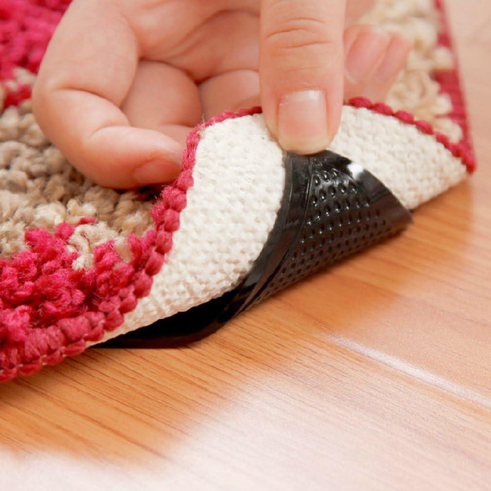 Umweltfreundliche Zange Ruggies Teppich Teppich Matte rutschfeste Grip Pad Ecken Anti Skid waschbar Wiederverwendbare Silicon Grip Pads-schwarz FairytaleMM 4 STK