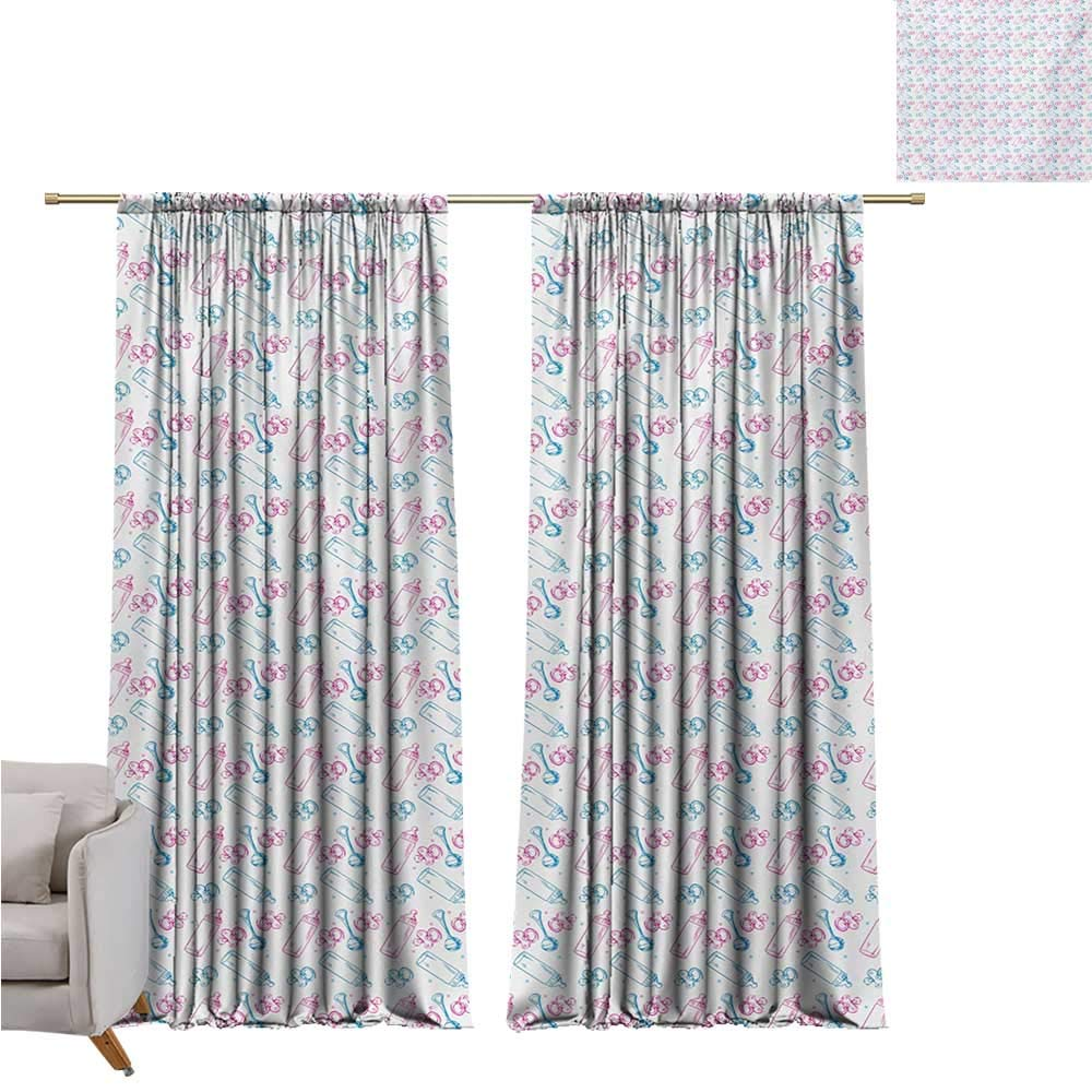 DESPKON-HOME Curtain for Kids Room,Baby Milk Bottles Pacifiers Rattles Pattern Hand Drawn Baby Toys Themed Ornate Image Indoor Darkening Curtains (84W x 72L inch,Pink Blue White)
