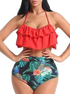 2c9164d4b12 OGNEE Women Bathing Suit Two Piece Swimsuit Ruffled Flounce High Waisted  Bikini Swimwear