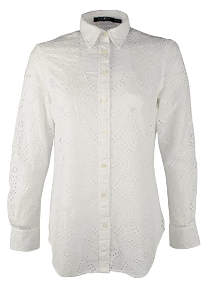Lauren Ralph Lauren Women's Eyelet Button Down Crisp Cotton Shirt-W-S