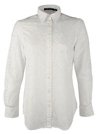 aa87b871 Amazon.com: Women's Petite Eyelet Button Down Crisp Cotton Shirt: Lauren  Ralph Lauren: Clothing
