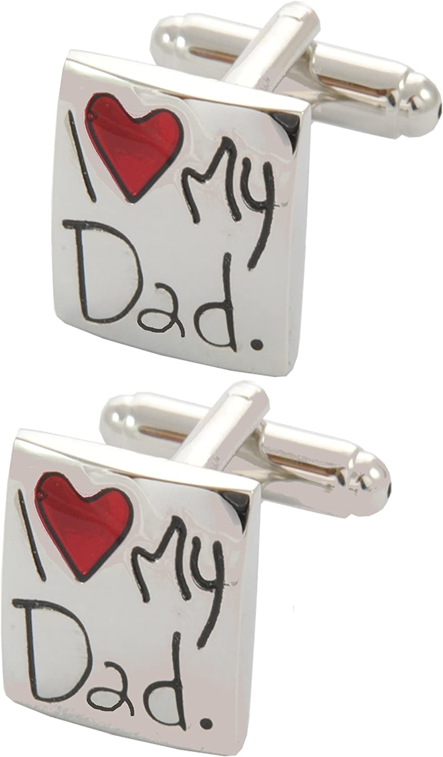 COLLAR AND CUFFS LONDON - Premium Cufflinks with Gift Box - I Love My Dad - Heart Square - Silver and Red Colors