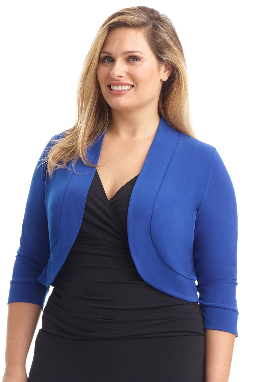 Rekucci Women's Curvy Fit Plus Size Rounded Hem Stretch Bolero Shrug (4X,Royal)