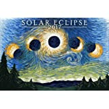 Solar Eclipse 2017 - Starry Night (9x12 Art Print, Wall Decor Travel Poster)