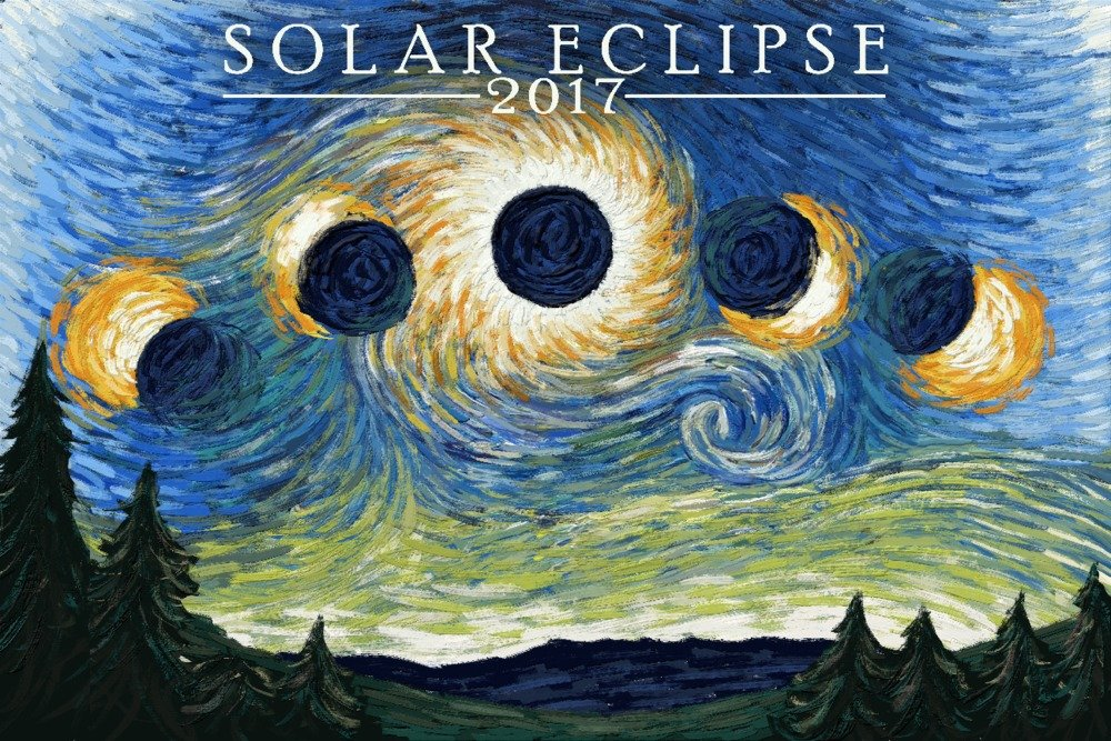 Solar Eclipse 2017 – Starry Night 24 x 36 Signed Art Print LANT-80478-710 B07B25ZWNQ 24 x 36 Signed Art Print24 x 36 Signed Art Print