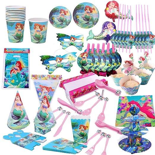 113 PCS/Set Pretty Mermaid Ariel Party Decor Girls Birthday ...