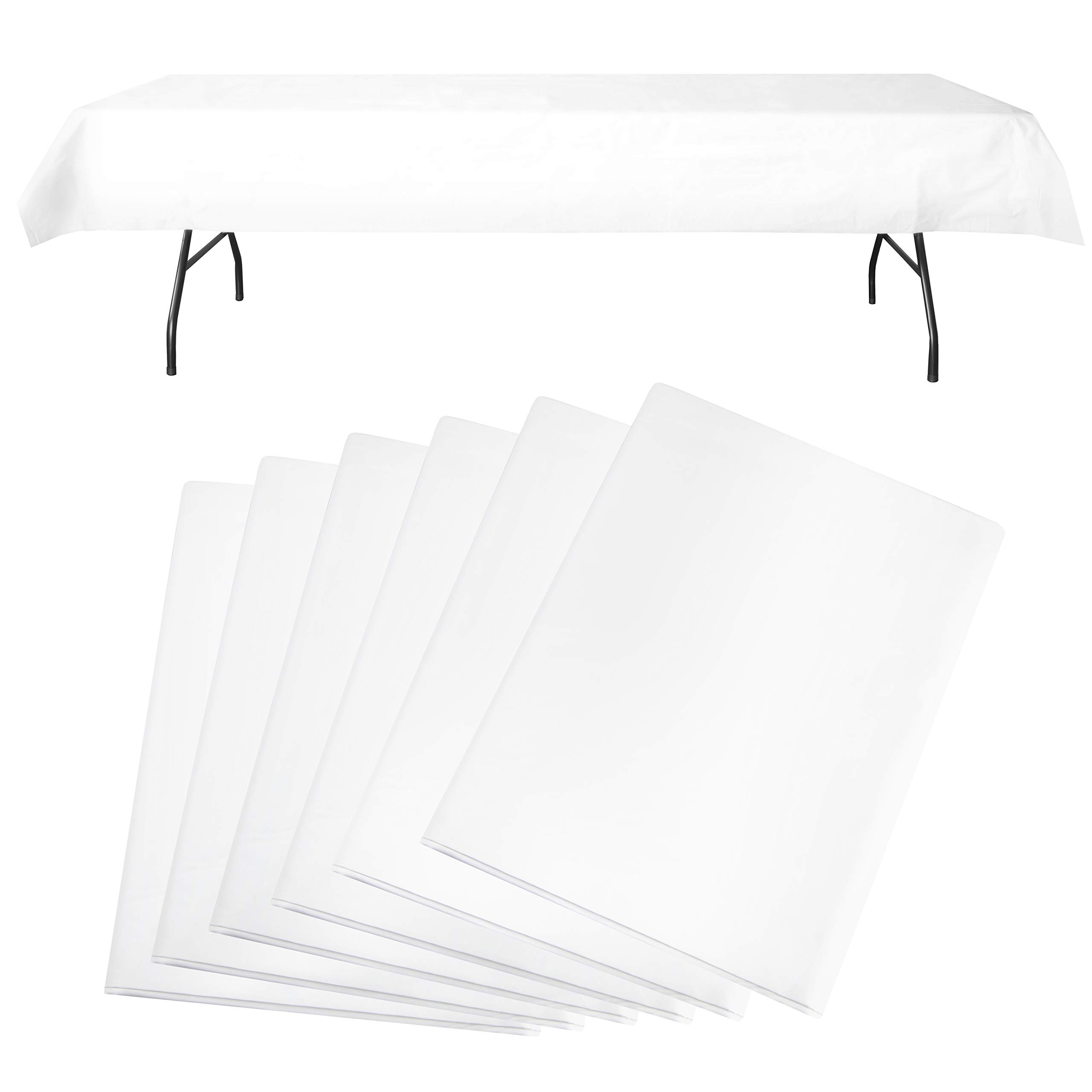 Party Like it's '99 Flannel Backed Plastic Tablecloths (Set of 6) | Best Opaque Heavy Duty Wipeable Disposable Table Cloth | Premium White Vinyl Rectangle Table Cover | 54x108 Inches by Party Like it's '99