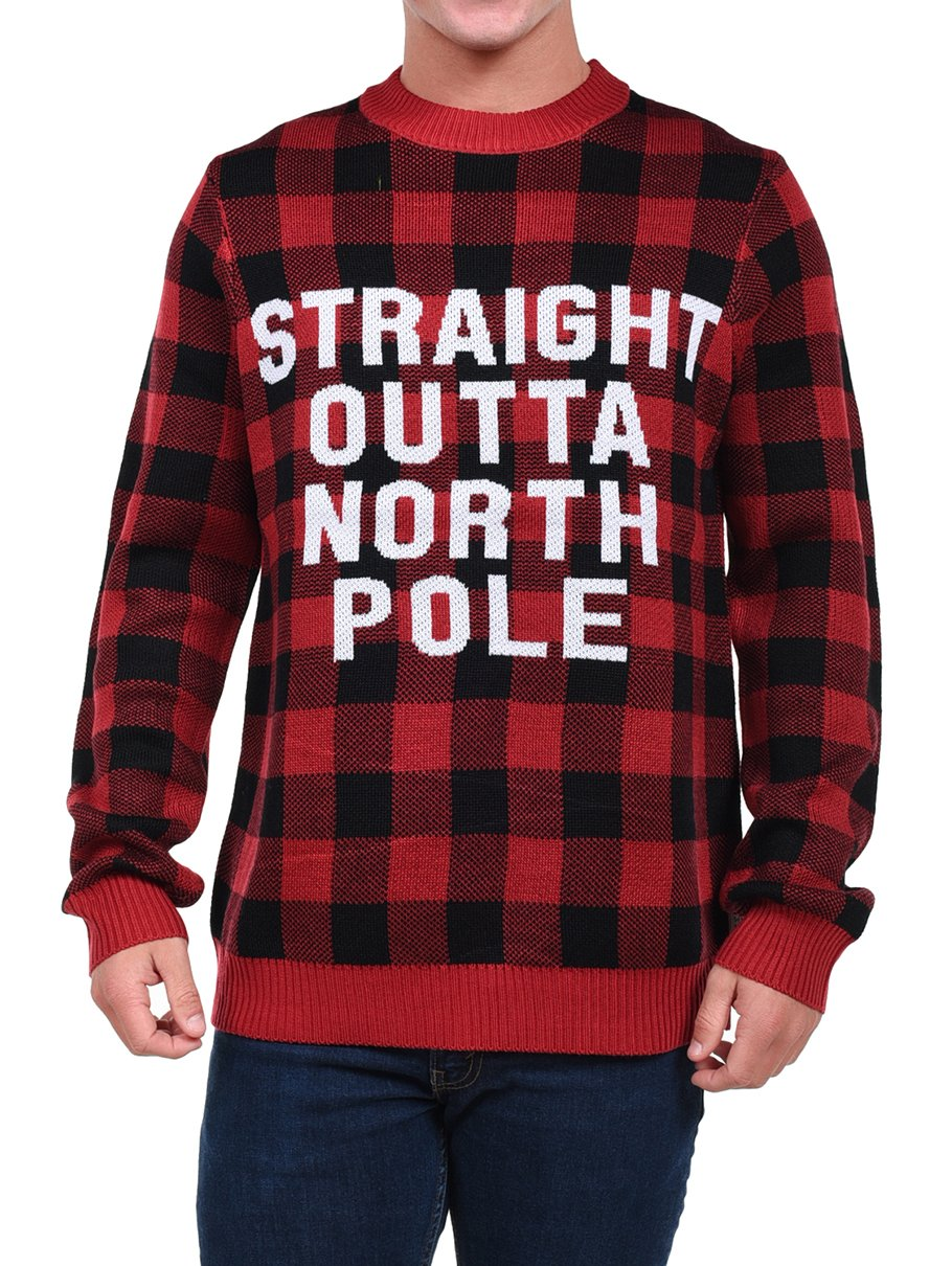 Tipsy Elves Men's Straight Outta North Pole Christmas Sweater: Large
