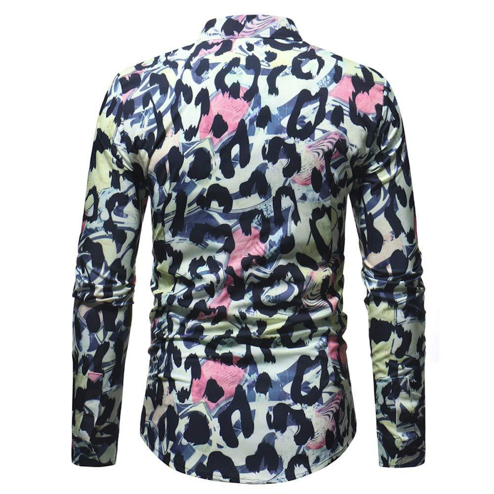 Polo, Camisetas, Blusa,BaZhaHei, Camisetas para Hombre de Manga Larga Delgada Estampada Leopardo de los Hombres de Blusa Impresa para Hombre de la Manera ...