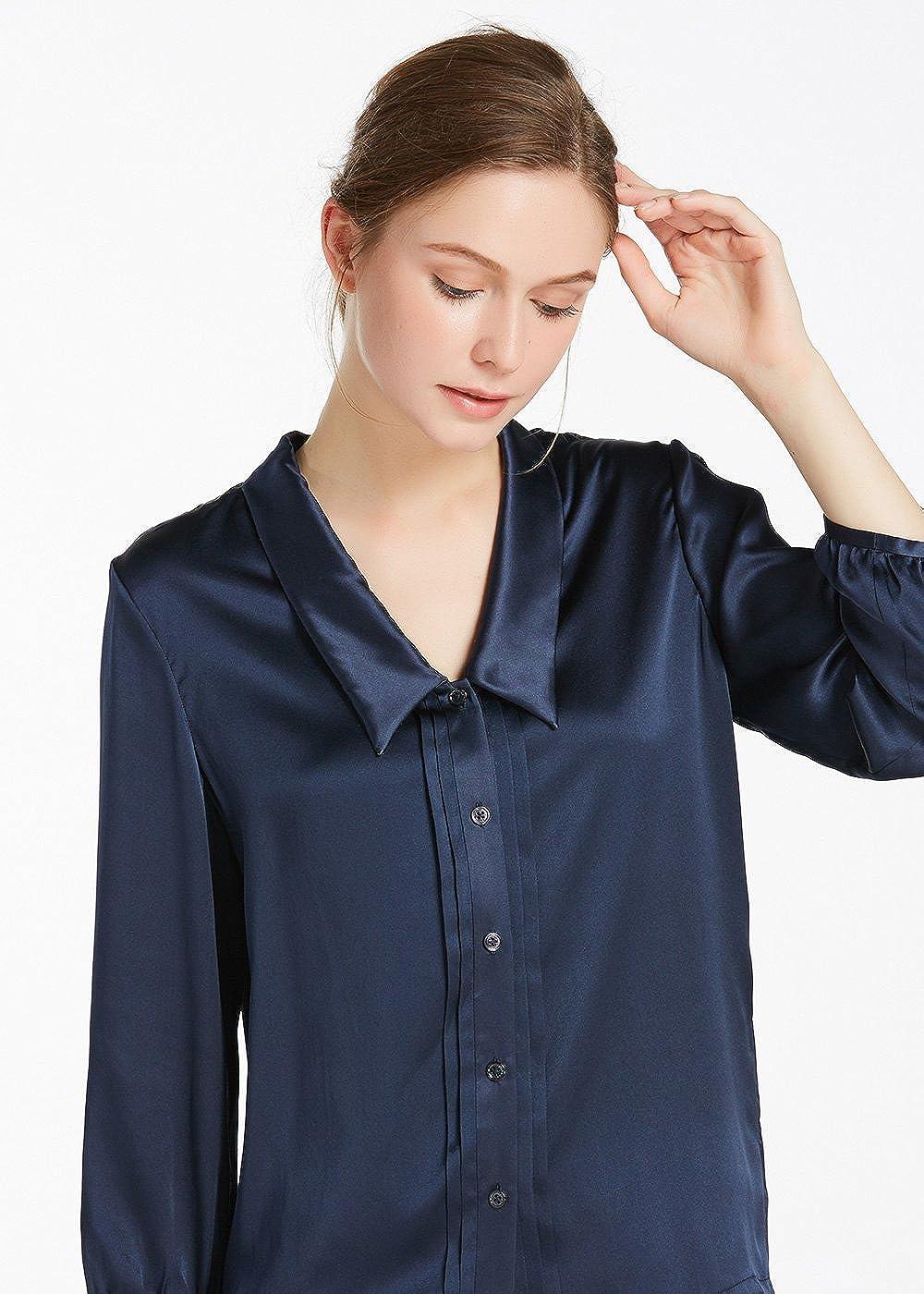 Lilysilk Women S Charmeuse Silk Blouse Deep V Neck Top 22 Momme Soft